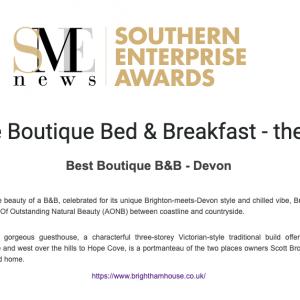 Winner Announce for Best Boutique B&B Devon